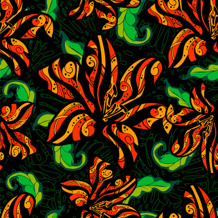 tiger lily: Tropical pattern tiger lily with green leaves on a black background