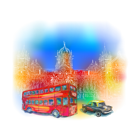 terminus: Chhatrapati Shivaji Terminus and red bus against the bright sky. An historic railway station in Mumbai, Maharashtra, India. Vector illustration