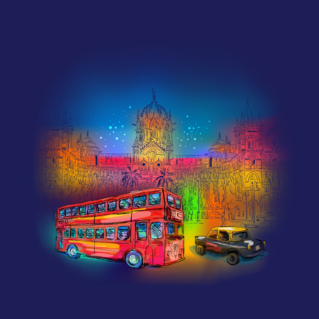 mumbai: Chhatrapati Shivaji Terminus backlit illumination at nightand Ambassador taxi and red bus backlit illumination at night. An historic railway station in Mumbai, Maharashtra, India. Vector illustration
