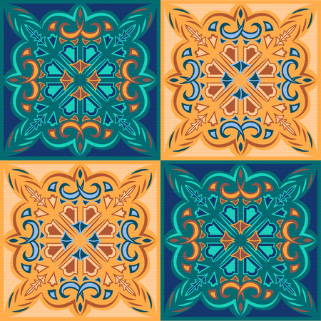 celadon: oriental pattern - mosaic tiles of blue, celadon and beige colors and ornament