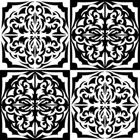 semicircle: black and white chess seamless pattern of semi circles