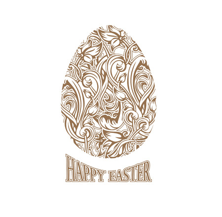 golden egg: card holiday Happy Easter eggs and ornate decor in the Art Nouveau style. vector golden egg consisting from interlacing art lines and flowers