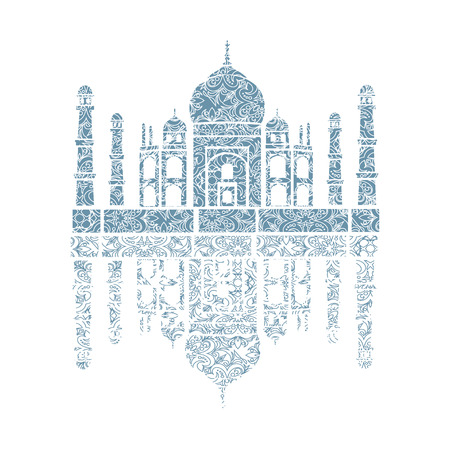 achieved: unusual illustration of Taj Mahal, India.  It achieved as a lace Illustration