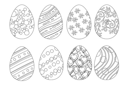 isolated set of coloring Easter eggs
