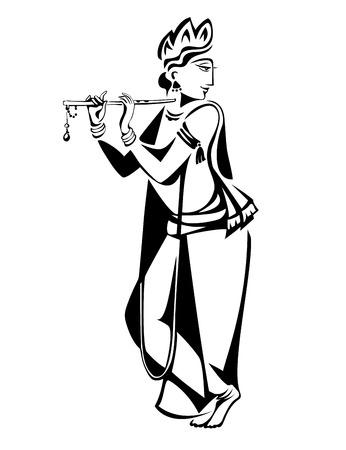 Heer Krishna speelt Zijn Fluit Vector Illustratie