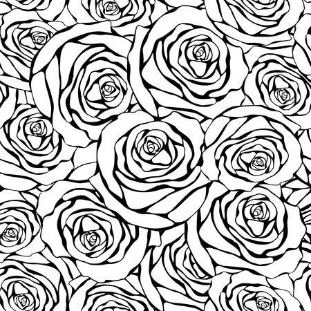 black roses: Seamless monochrome pattern with black roses on a white background. Floral illustration in vintage style