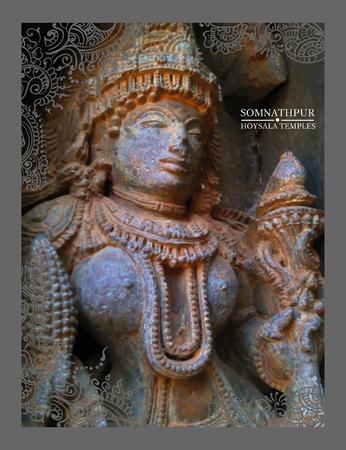 13th: Hoysala Temples at Somnathpur, India, Karnataka. Vector illustration.