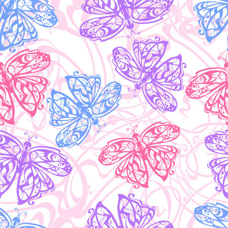 flit: seamless pattern of flit butterflies in the traditional color for girls  -blue, lilac, pink Illustration