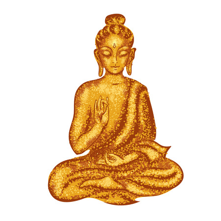 lotus position: Golden Buddha sitting in the lotus position. Vector illustration done in the style of Pointillism Illustration