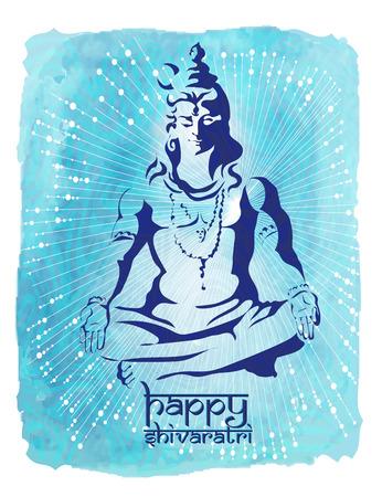 moksha: Lord Shiva. Maha Shivaratri festival of India. Poster - Postcard Happy Shivaratri on a blue watercolor background.