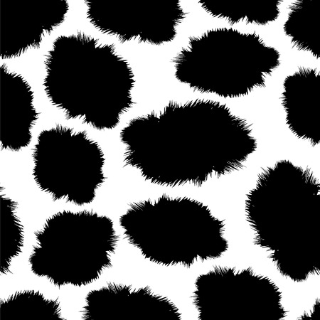 cow skin: seamless black and white background as a fluffy skin of a cow Illustration