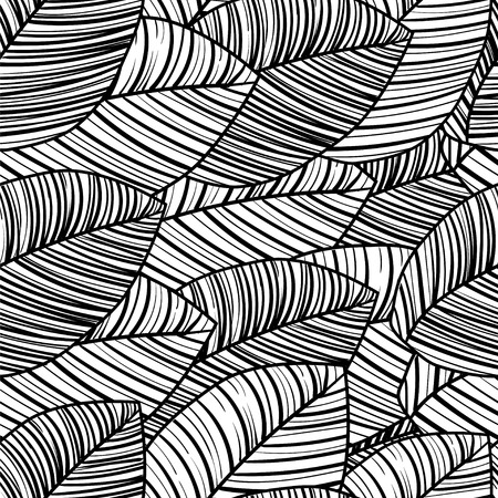 repeat pattern: Seamless black-and-white pattern of tropical leaves