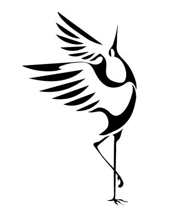 stylizowany wizerunek żurawie tańczące na białym tle. wektor