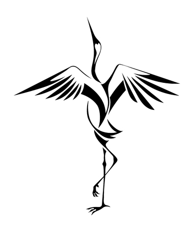 decorative image of dancing cranes isolated on a white background. vector Ilustração