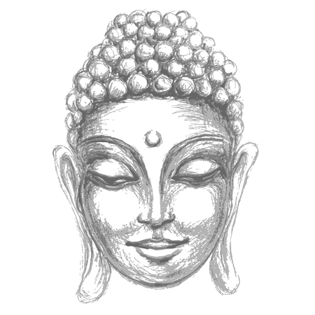 sketch head Smiling Buddha in meditation and nirvana in a state of Zen
