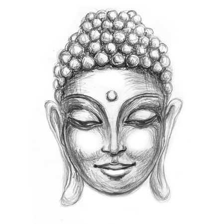 nirvana: sketch head Smiling Buddha in meditation and nirvana in a state of Zen