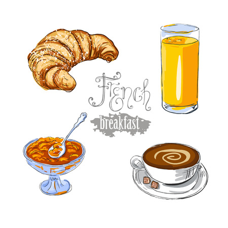 traditional french: isolated vector croissant, glass of orange juice, jam, and cup of coffee - traditional French breakfast