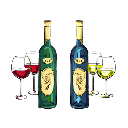 isolated bottle of white and red wine with filled stemware on a white background
