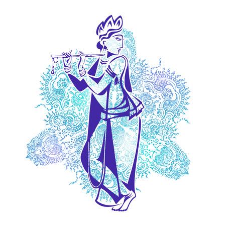 Heer Krishna speelt Zijn Fluit tegen de achtergrond van de mandala Stock Illustratie