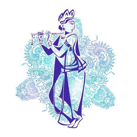 lord krishna: Lord Krishna Plays His Flute against the background of the mandala
