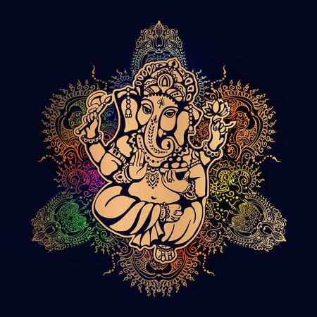 ganesh: Ganesh señor hindú en el contexto de la mandala con elementos mehendi. Ganesh Puja. Ganesh Chaturthi. Se utiliza para las tarjetas postales, grabados, textiles, tatuaje.