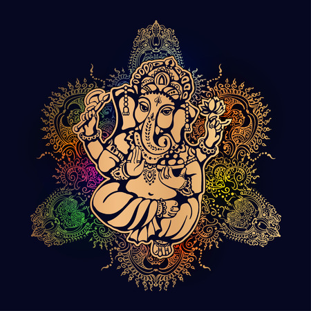 Hindu lord Ganesh against the background of the mandala with mehendi elements. Ganesh Puja. Ganesh Chaturthi. It is used for postcards, prints, textiles, tattoo. Illustration