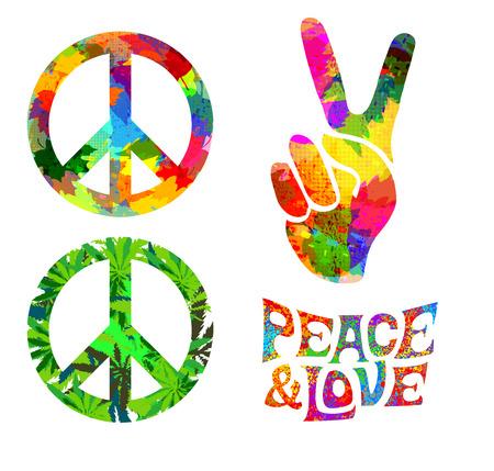 simbolo paz: conjunto de Pacifik símbolo hippie y las palabras