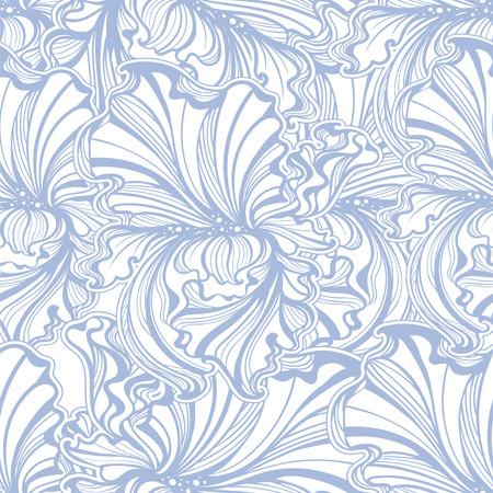stile liberty: seamless di fiori e foglie di iris in stile vintage Art Nouveau
