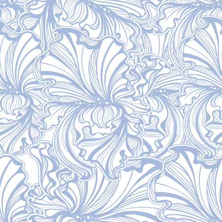 iris blossom: seamless pattern of flowers and leaves of irises in vintage style Art Nouveau