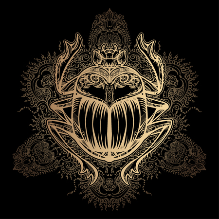 Isolierte Vektor Tattoo Bild goldenen Skarabäus beetleon einem schwarzen Hintergrund. Carabaeus sacer. Die alten spirituellen Symbol von Ägypten, Gott Khepri
