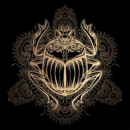 Izolowane Wektor tatuaż obrazu złoty skarabeusz beetleon czarnym tle. Carabaeus sacer. Starożytni symbolem duchowego Egiptu, Bóg khepri Ilustracje wektorowe