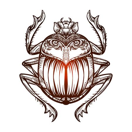 Isolated vector tattoo image black Scarab beetleon a  white background. Carabaeus sacer. The ancient spiritual symbol of Egypt, God Khepri Illustration