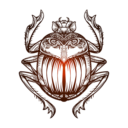 Isolated vector tattoo image black Scarab beetleon a  white background. Carabaeus sacer. The ancient spiritual symbol of Egypt, God Khepri Vettoriali