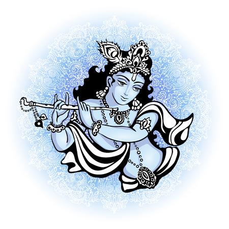 Krishna che suona il flauto. Illustrazione di vettore per il festival indiano di janamashtmi celebrazione sullo sfondo del mandala Vettoriali
