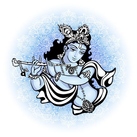 Krishna playing the flute. Vector illustration for the Indian festival of janamashtmi celebration against the background of the mandala