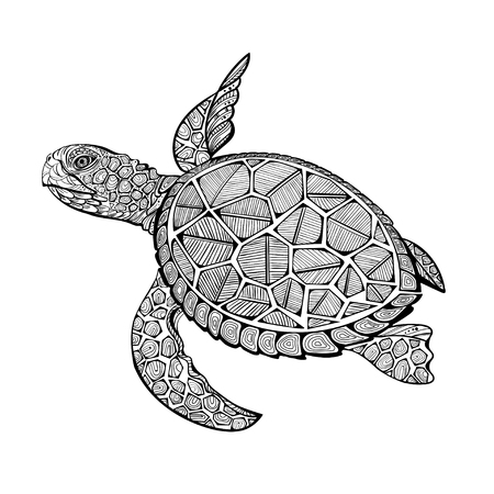 illustration of sea turtle for Coloring book pages for kids and adults, Tattoo, shirt design effect, and decoration.