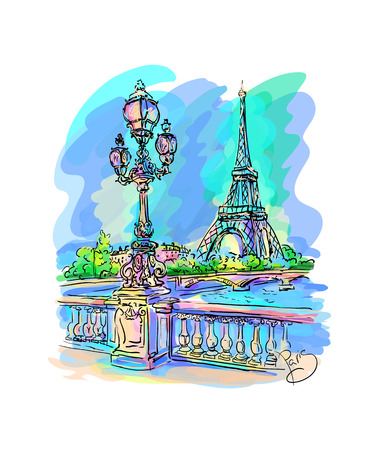 Morning Paris. Seine embankment with a lantern in the foreground, the Eiffel Tower on the other side. on a colored background.