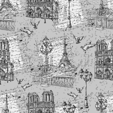 Seamless background Paris in retro style. The embankment River Seine, Notre Dame, lanterns and doves on a background of letters imitation.