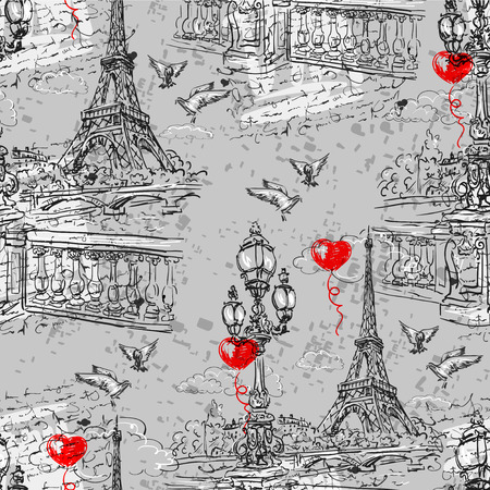 Seamless background Paris in retro style. The embankment River Seine, lanterns and doves on a background of letters imitation.