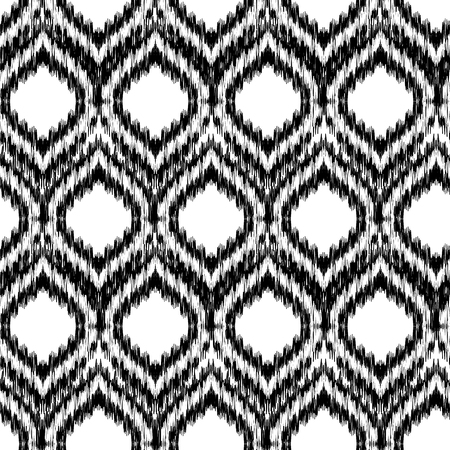 gobelin tapestry: Seamless black and white Ikat Ogee Background Pattern