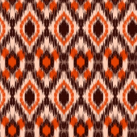 brown pattern: Ethnic folk seamless pattern Ikat Ogee, consisting of orange, beige and brown elements