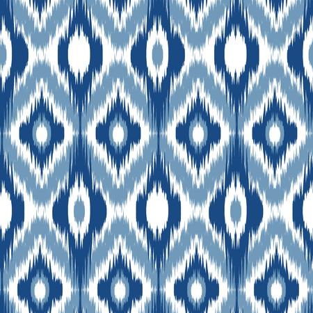 Blue Ikat Ogee Seamless Background Pattern