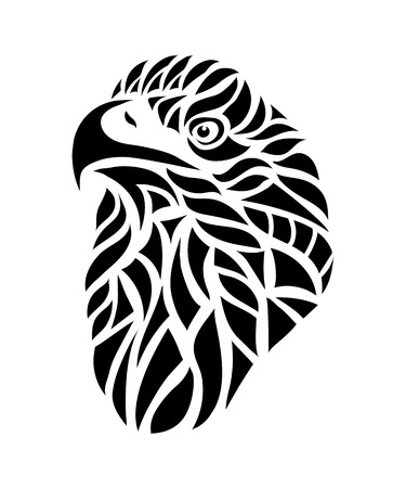 hawk: Ornamental decorative isolated black eagle on a white background.  Can be used for t-shirt, poster, tattoo, textile,  element for card design. Hand drawn vector illustration