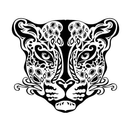 Ornamental decorative isolated black jaguar's muzzle on a white background.  Can be used for t-shirt, poster, tattoo, textile,  element for card design. Hand drawn vector illustration Ilustração
