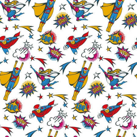 american hero: seamless pattern flying superhero male and female illustration and speech bubbles in the pop Art comics style