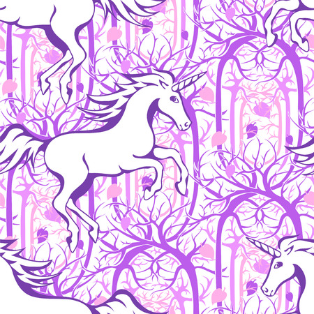 enchanted forest: Galloping unicorn silhouette against the backdrop of a magical, enchanted forest - seamless vector background Illustration