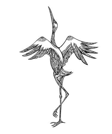 Exquisite decorative art lines depicting a dancing crane. Black and white vector Coloring page