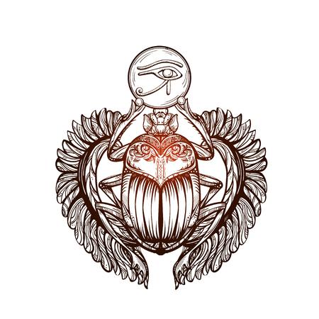 horus: Imagen tatuaje vector aislado del escarabajo negro beetleon un fondo blanco. sacer Carabaeus. El antiguo símbolo espiritual de Egipto, Dios Khepri