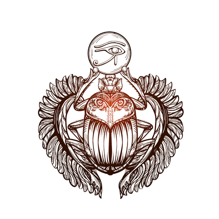 Isolated vector tattoo image black Scarab beetleon a  white background. Carabaeus sacer. The ancient spiritual symbol of Egypt, God Khepri Çizim