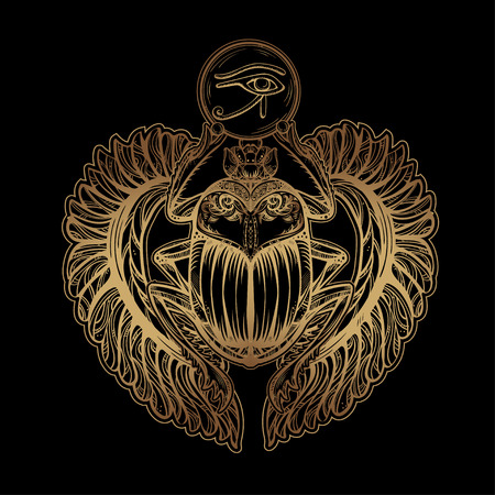 Isolated vector tattoo image golden Scarab beetleon a black background. Carabaeus sacer. The ancient spiritual symbol of Egypt, God Khepri